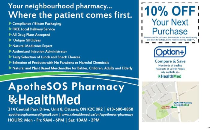 apothesos pharmacy Ottawa - contact